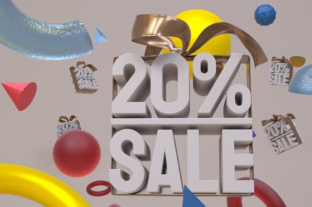 20% de vente avec un arc et un ruban 3d design sur fond de géométrie abstraite