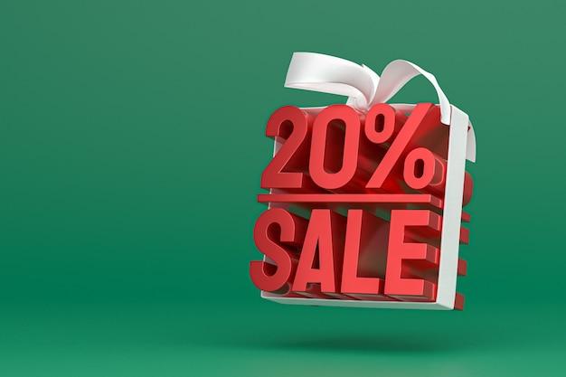 20% de vente avec un arc et un ruban 3d design sur fond vide