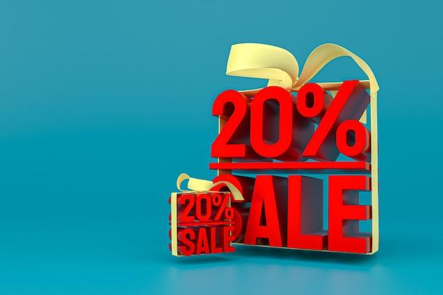 20% De Vente Avec Un Arc Et Un Ruban 3d Design Sur Fond Vide Photo Premium