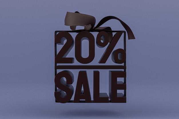 20% vente avec arc et ruban design 3d sur fond vide