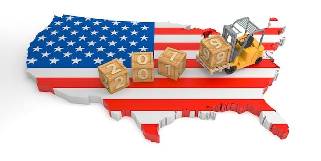 2019 bloc de bois texte de la carte du drapeau des états-unis. rendu 3d