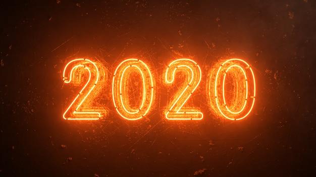 2020 feu orange néon signe fond nouvel an concept. bonne année. fond de brique. lumière scintillante. illustration 3d