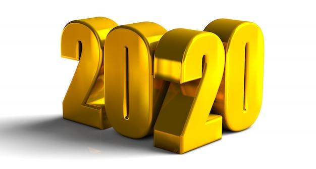 2020 lettres audacieuses d'or rendu 3d de haute qualité isolé sur blanc