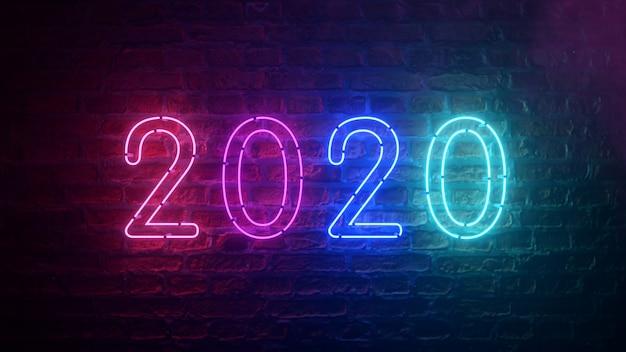 2020 néon signe fond nouvel an concept. bonne année. fond de brique. néon violet bleu ultraviolet moderne. lumière scintillante.
