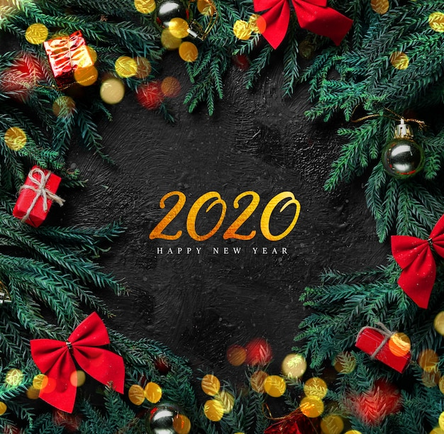 2020 or lettrage nouvel an fond