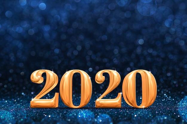 2020, or, nouvel an, 3d, rendu, à, résumé, mousseux, bleu foncé, perspective