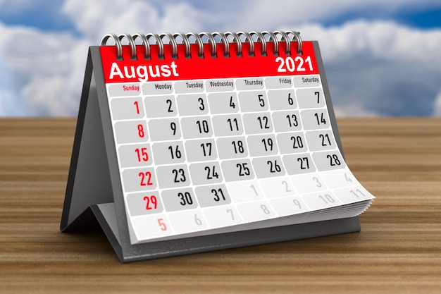 2021 année. calendrier d'août. illustration 3d