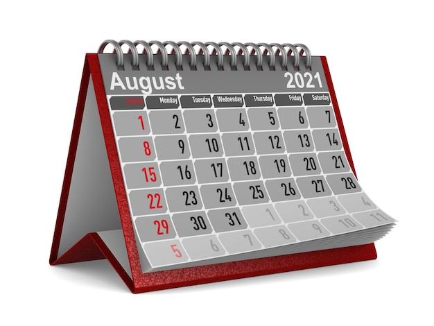 2021 année. calendrier d'août.