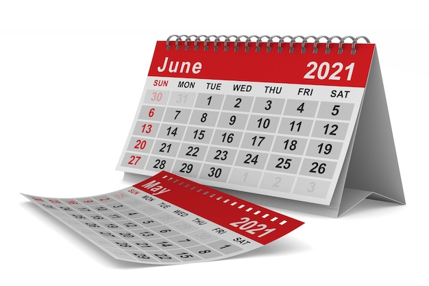 2021 année. calendrier pour juin. illustration 3d isolée