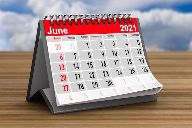 2021 année. calendrier pour juin. illustration 3d