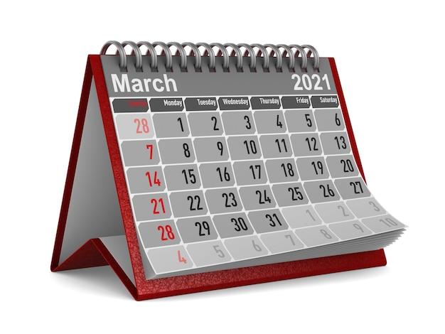 2021 année. calendrier pour mars.