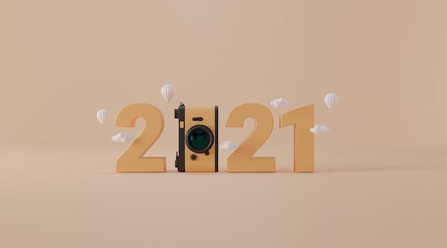 2021 avec appareil photo vintage en rendu 3d