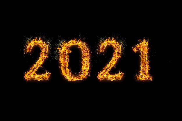 2021 feu flammes sur fond noir, effet de feu réaliste avec des étincelles.