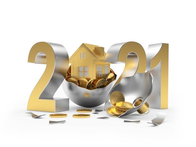 2021 et icône de la maison sur une boule de noël cassée avec des pièces de monnaie