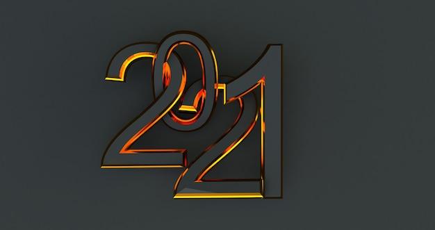 2021 nouvel an isolé sur noir
