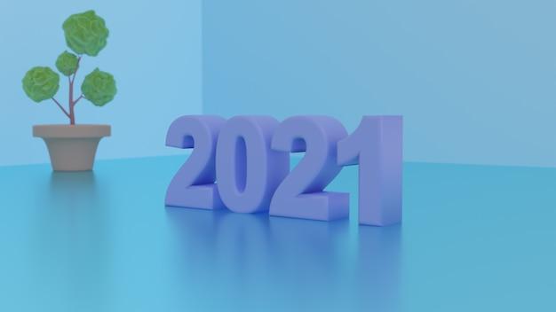 2021 nouvel an rendu 3d fond d'écran premium