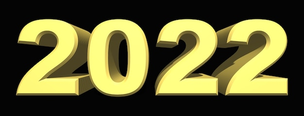 2022 année numéro 3d bleu sur fond sombre