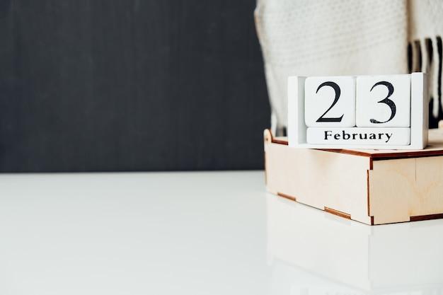 23 vingt-troisième jour du calendrier du mois d'hiver février avec espace de copie.