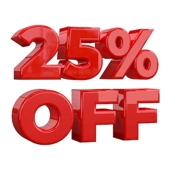 25% de réduction sur fond blanc, offre spéciale, offre exceptionnelle, vente. vingt-cinq pour cent de réduction sur les promotions