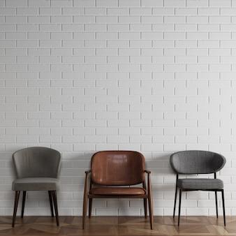 3 chaises différentes dans un style moderne debout devant un mur de briques blanches avec fond