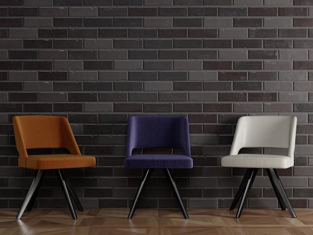 3 chaises différentes de style moderne debout devant un mur de briques noires avec fond