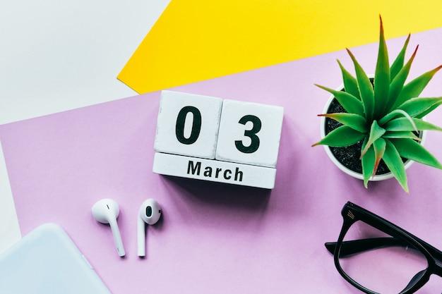 3 troisième jour de mars sur le calendrier