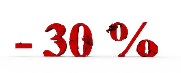 30 pour cent de réduction, fond de vente, objet 3d