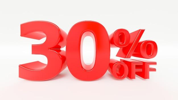 30 pour cent de réduction sur le texte 3d sur fond blanc
