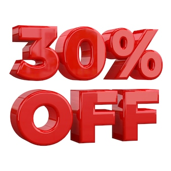 30% de réduction sur fond blanc, offre spéciale, offre exceptionnelle, vente. trente pour cent de réduction promotionnelle