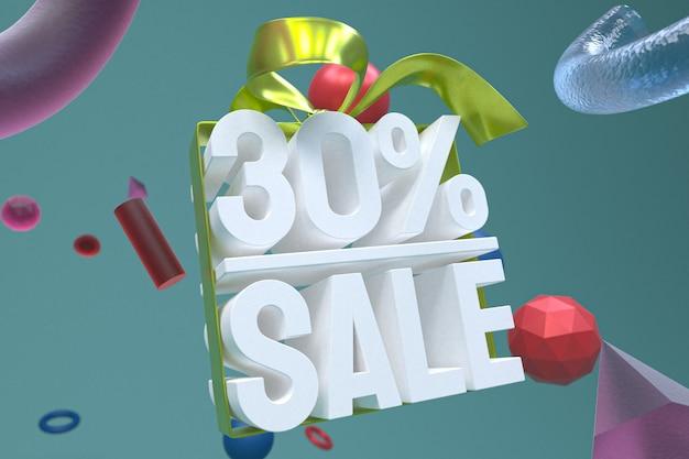 30% de vente avec un arc et un ruban 3d design sur fond de géométrie abstraite