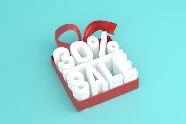 30 vente avec arc et ruban 3d design sur fond vide