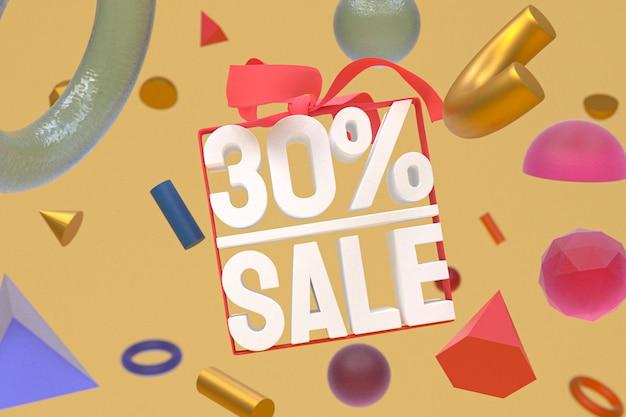 30% vente avec arc et ruban design 3d sur bannière de géométrie abstraite