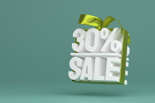 30% vente avec arc et ruban design 3d sur bannière vide