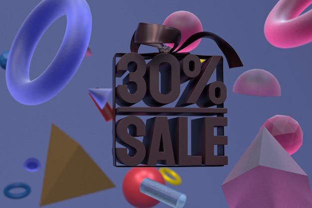 30% vente avec arc et ruban design 3d sur fond de géométrie abstraite