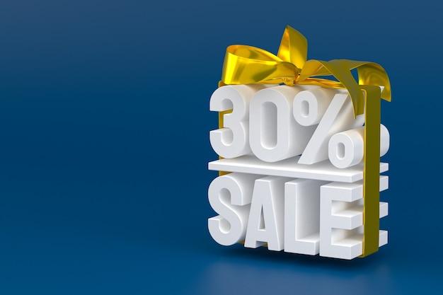 30% vente avec arc et ruban design 3d sur fond vide