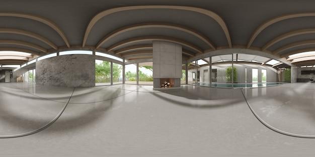 360 panoramique de la salle intérieure moderne vide rendu 3 d