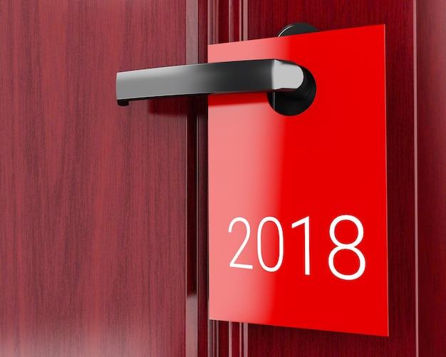 3d 2018 signe sur la poignée de porte, nouvel an