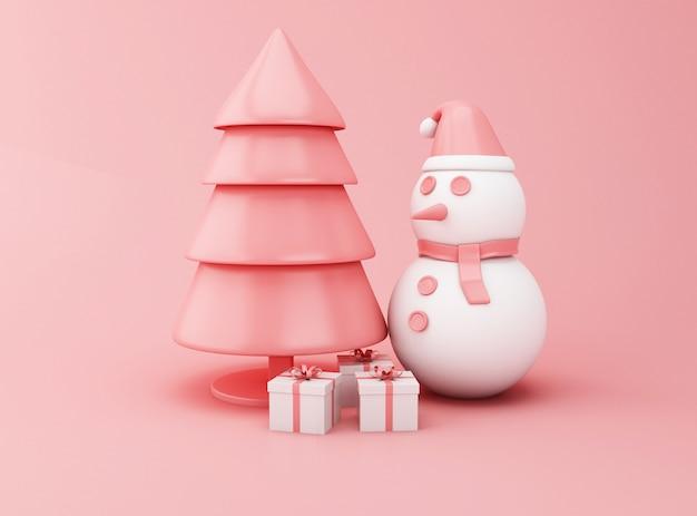 3d abstrait arbre de noël, bonhomme de neige et cadeaux.