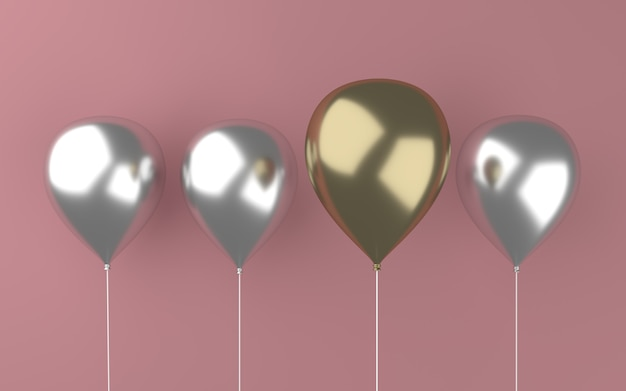 3d abstrait ballon abstrait métallique or et argent 3d