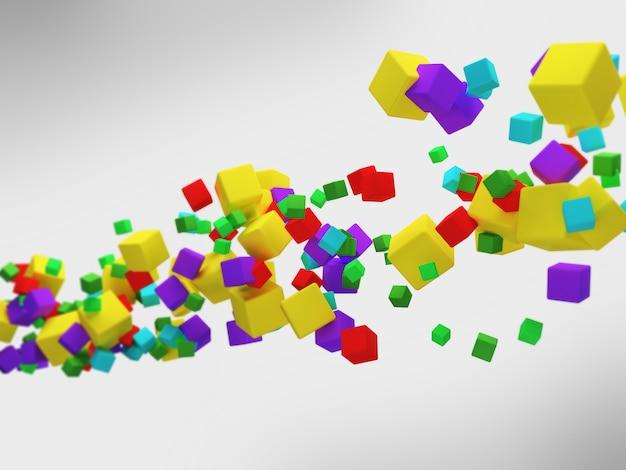 3d abstrait cubes colorés