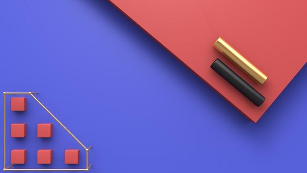 3d abstrait de plancher bleu rouge or et tube noir rendu 3d
