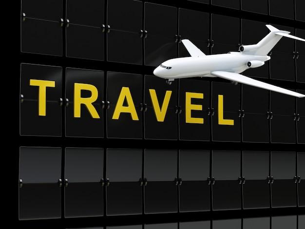 3d aéroport et avion. concept de voyage ou de tourisme.