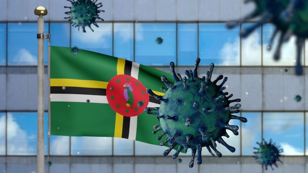 3d, agitant le drapeau dominicain avec la ville moderne des gratte-ciel et le concept ncov du coronavirus 2019. éclosion asiatique en dominique, la grippe à coronavirus en tant que cas dangereux de souche de grippe en tant que pandémie. virus covid19