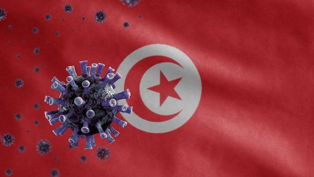 3d, agitant le drapeau tunisien et concept ncov coronavirus 2019. épidémie asiatique en tunisie, la grippe à coronavirus comme cas de souche grippale dangereux en tant que pandémie. virus de microscope covid19