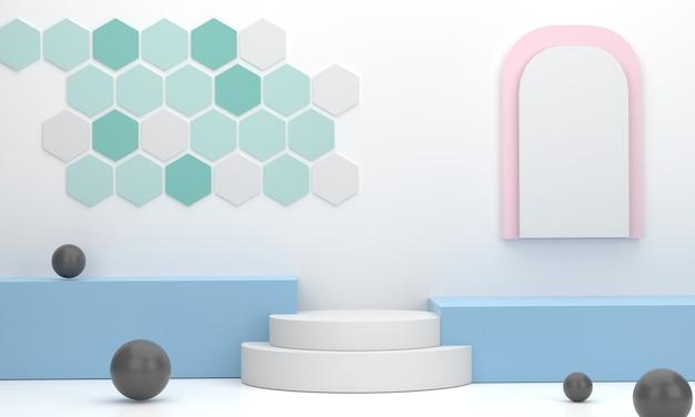 3d au lieu d'un podium carré et d'un cercle en arrière-plan du studio pour afficher des produits commerciaux