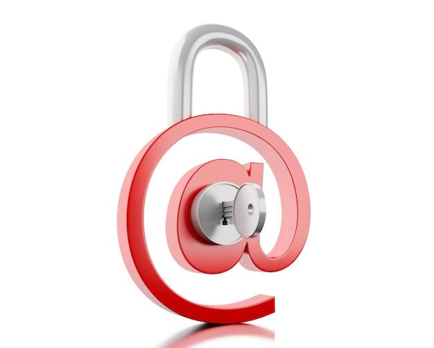 3d au signe comme cadenas avec clé