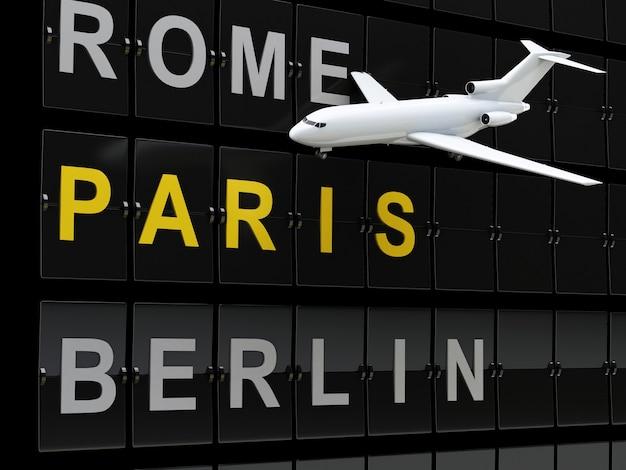 3d avion et conseil de l'aéroport, destination de l'europe.