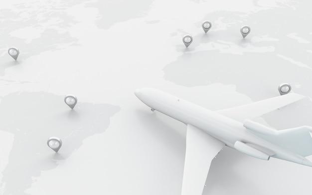 3d avions volant autour du globe avec un pointeur de carte.