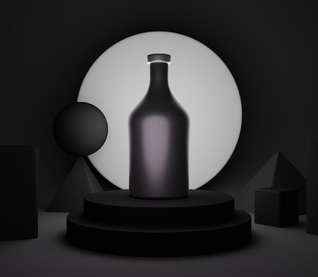 3d backgound illustration étape papier peint produit simple moderne abstrait noir brillant