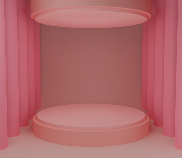 3d backgound illustration étape papier peint produit simple moderne abstrait rose